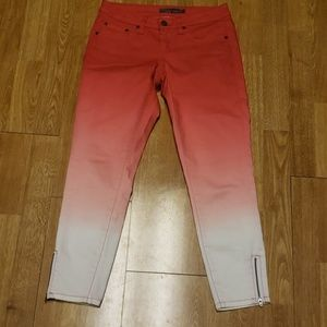 Prana coral ombre cropped zip ankle pant 00/24